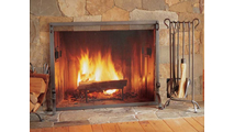 Bowed Burnished Bronze Fireplace Tool Set with Fireplace