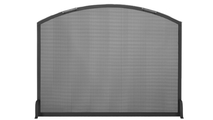Traditional arch single panel fireplace screen in matte black