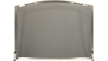 Stainless steel arch single panel fireplace screen