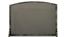 Chesapeake arched single panel fireplace screen shown in Burnished Copper premium finish