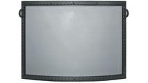 Denali Convex Single Panel Fireplace Screen shown in Textured Black powder coat finish