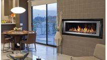 superior DRL6542 linear direct vent gas burning fireplace shown with surround and bezel kit