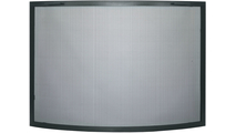 Traditional Convex Single Panel Fireplace Screen in Textured Black