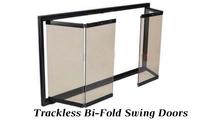 Trackless bi-fold swing doors