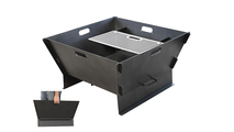 Collapsible Fire Pit folds up for easy portability!