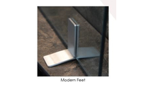 Modern feet for the Vanguard single panel glass fireplace screen are finished in brushed nickel plating
