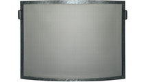 Forged Steel Laramie convex single panel fireplace screen shown in Clear Natural finish