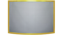 Traditional convex single panel fireplace screen shown in Polished Brass overlay