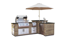 Reclaimed French Barrel Oak Wood Finished L-Shaped Grill Island With Kegerator
