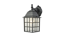 Holton Outdoor Wall Sconce in Satin Black with Seedy Glass