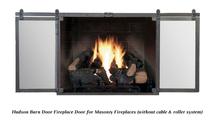 Hudson Fireplace Door With Doors Open - Natural Iron Finish