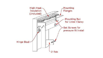 Masonry fireplace mesh door with window pane design - mounting diagram