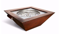40 Inch Square Sedona Copper Fire and Water Bowl Match Lit
