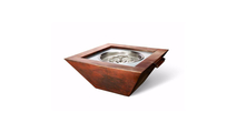 36 Inch Square Sierra Copper Fire and Water Bowl Match Lit