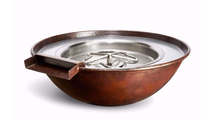 31 Inch Round Tempe Copper Fire and Water Bowl Match Lit