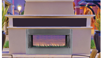 Superior VRE5443 Outdoor Gas Fireplace shown with see thru kit installed