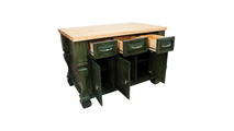 Tuscan aqua green kitchen island 53 inch open shown with optional butcher block top