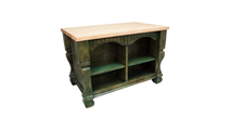 Reverse side of Tuscan Aqua green kitchen island 53 inch shown with optional butcher block top
