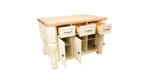 Tuscan Antique white kitchen island 53 inch shown with optional butcher block top