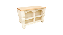 reverse side of tuscan antique white kitchen island 53 inch shown with optional butcher block top