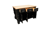 Tuscan distressed black kitchen island open shown with optional butcher block top
