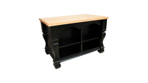 Reverse side of tuscan distressed black kitchen island shown with optional butcher block top