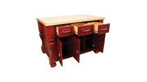 Tuscan Brilliant Red Kitchen Island 53 inch open shown with butcher block top
