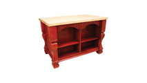 Reverse side of Tuscan Brilliant Red Kitchen Island 53 inch shown with optional butcher block top