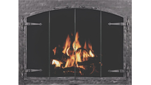 Forged Steel Laramie Arch Conversion Masonry Fireplace Door With Strap Hinges in clear natural