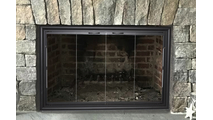 Phoenix Masonry Fireplace Door in Rustic Black with Contemporary Handles