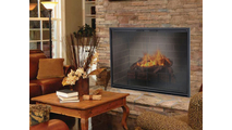 Stiletto Masonry Fireplace Door in Rustic Black 3 Sided With Damper