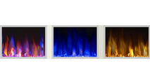 3 different flame color options for the allure electric fireplace 100 inch