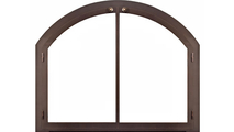 Arched Legend Fireplace Door With Window Pane Design Top Right Corner Detail