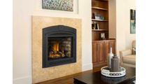 Ascent X 70 App Controlled Direct Vent Gas Fireplace shown with Black Surround with Operable Screen