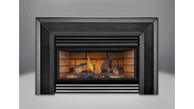Roxbury 3600 Natural Draft Gas Fireplace Insert With Flashing & Louvers shown with beveled flashing and stainless steel bottom louver