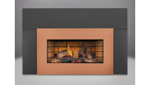 "Roxbury 3600 Natural Draft Fireplace With Faceplate & Flashing shown with brushed copper faceplate and 9"" flashing"