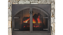 Blacksmith Arch Conversion Masonry Door in a rough-hewn stone fireplace