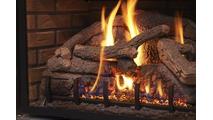 Burning Gas Log Close-Up
