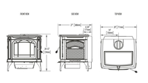 Specs for the Banff 1400 medium wood burning stove.