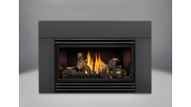 """Roxbury 30 Direct Vent Gas Fireplace Insert shown with 6"""" surround and black louvers"""