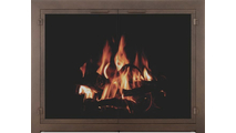 Cascadian Masonry Fireplace Door - flush fit panels - in Copper Vein