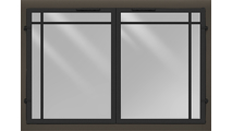 Normandy Contemporary Masonry Fireplace Door in Black and Bronze Iron