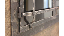 Frame detail for the Allegheny Masonry Fireplace Door with window pane design