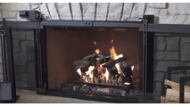 Hudson Remote Control Masonry Fireplace Door - with doors open