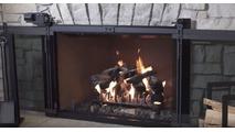 Hudson Remote Control Masonry Fireplace Door - with doors open