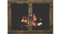 Chesapeake masonry fireplace door shown in Burnished Copper premium finish.