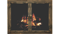 Old World masonry fireplace door shown in Burnished Copper premium finish.