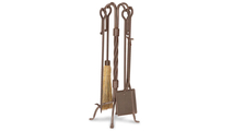 Traditional Fireplace Tool Set In Burnished Bronze