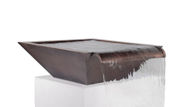 """24"""" Madrid Wide Spill Square Hammered Copper Water Bowl"""