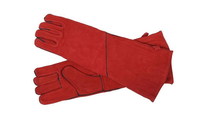 Long Arm Red Suede Heat Resistant Hearth Gloves